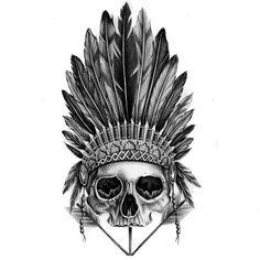 Indian Skull Tattoo Design Drawings Tattoos Tattoo Designs