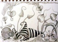 Little fairy garden #zentangle #zendoodle #zendoodlenikki #tangles #doodle #doodling #penart #penandink #blackandwhite