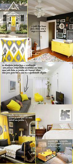 Decoração: Cinza e amarelo