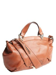 sienna brown leather 'Leonard' foldover top handle bag