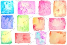 Watercolor Square & Rectangle Shapes by Corner Croft on @creativemarket