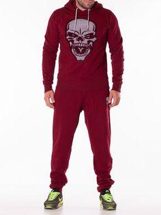 Trening barbati Skull head rosu inchis Cool Street Fashion, Street Style, Skull Head, Wide Pants, Pleated Pants, Minimal Design, Long Sleeve Shirts, Sweatpants, Elegant