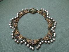 Vintage Jewelry Signed Miriam Haskell Handmade Baroque Choker Necklace 40's-50's