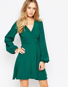Image 1 of ASOS Skater Dress with Wrap front Detail