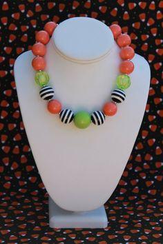Chunky Necklace  Halloween Bubblegum Bead by SassySamsTreasures, $17.50