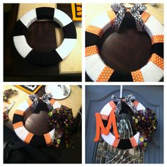 One of the many wreaths I've made! This is my Fall wreath. All materials found at Michaels. Styrofoam ring, yarn colors of your choice, wooden letter, ribbon if your choice.