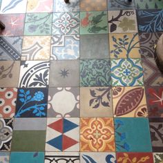 Beautiful floor tiles at 'The Pig' Hampshire #floortiles #colourful floor