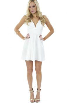 Deep V Fit N Flare Dress White