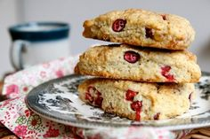 Cranberry cream scones with candied ginger. Joy the Baker.
