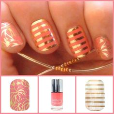 Layer your Jams. Coral laquer, floral wrap and white gold stripe. Get yours at www.katiesylvia.jamberrynails.net