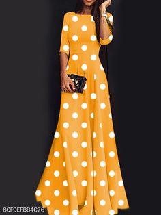 Women's Dress Sweet Round Neck Polka Dot Mid-sleeve Mop Long Dress 2020 Fall New Printed Dress Polka Dot Maxi Dresses, Dot Dress, Printed Dresses, Short Beach Dresses, Summer Dresses, Sexy Maxi Dress, Dress Silhouette, Sweet Dress, Dress Brands
