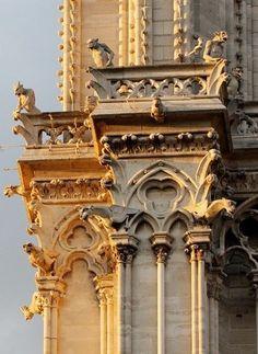 Gargoyles - Notre Dame, Ile de la Cité, Paris- love the different shapes created from the ledges and the construction of the architecture itself. Gothic Architecture, Beautiful Architecture, Beautiful Buildings, Architecture Details, Paris Travel, France Travel, Ile Saint Louis, Paris Ville, I Love Paris