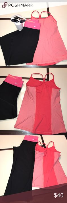 Nike Bundle Both items in good used condition. Top has built in Bra with light pads can be removed. Capri pants good condition. Price is for both Nike Tops Tank Tops