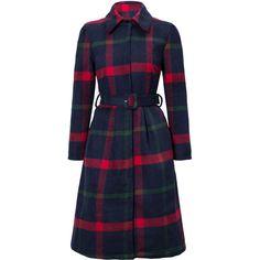 Longline Plaid Lapel Pocket Belt Woolen Coat (240 RON) ❤ liked on Polyvore featuring outerwear, coats, jackets, long lapel coat, pocket coat, lapels wool coat, plaid wool coats and plaid coat