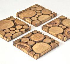 Wood Tree Slice Modern Wall Art Wooden by ElizaLenoreDesigns