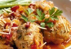 enchilada meatballs. serve over spanish rice. yum.