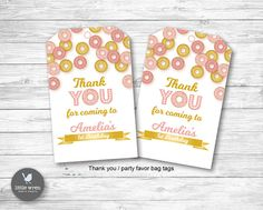 Donut Birthday Party! Thank you tags party favor first birthday theme ideas pink and gold
