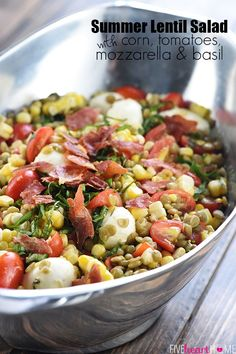 Summer Lentil Salad ~ loaded with protein-packed lentils, roasted corn, juicy tomatoes, creamy mozzarella, fresh basil, and crispy prosciutto for a healthy, vibrant main dish or a versatile side! | FiveHeartHome.com