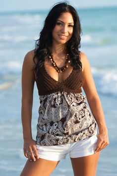 Halter top, brown  crochet top lined and cotton fabric