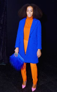 Solange Knowles Photos Photos: Milly By Michelle Smith - Backstage - Mercedes-Benz Fashion Week Fall 2014 Solange Knowles, Fashion Mode, Look Fashion, Fashion Outfits, Fashion Trends, Blue Fashion, Color Blocking Outfits, Color Blocking Fashion, Color Combinations Outfits