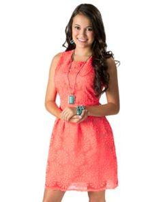 Karlie Women's Neon Coral Daisy Lace Sleeveless Dress