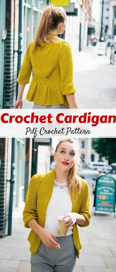 Elegant & modern pleated crochet cardigan. This is an intermediate crochet project. #cardigan #ad #crochet #pattern
