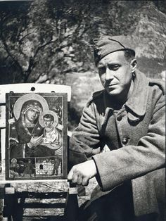 Ioannis Tsarouchis, a famous Greek with one of his creations, a Theotokos icon, on the way for the Battle of Pindus, Greece History, Art Articles, Byzantine Icons, My Prince Charming, Greek Art, Roman Catholic, Military History, Athens, Old Photos