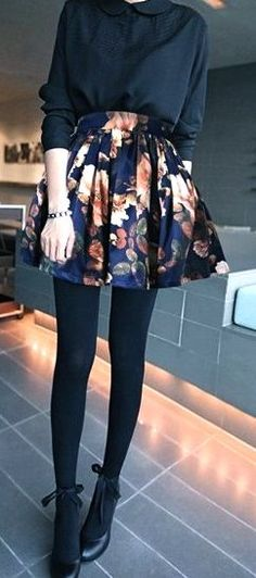 Chic look   Black blouse with round collar, floral high waist skirt, black tights and heels