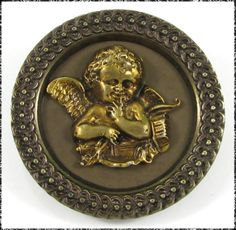 Extra Large Victorian Metal Button - Cheeky Cherub with Quiver, Bow & Arrows