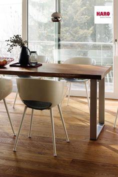 HARO Dining Tables are produced from original HARO Oak Timber. Whether rustic or classical – this contemporary table is stunning. Timber Planks, Timber Flooring, Dining Table Design, Dining Tables, Dining Table Dimensions, Real Wood, Wood Table, Sustainability, Kitchens