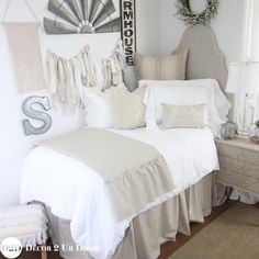 Love that fixer upper style? Neutral dorm bedding is always a favorite. This tan and white farmhouse dorm bedding set features linen stripes, cable knit textures, and white frills. Our neutral farmhouse dorm bedding has us swooning. Shabby Chic Bedrooms, Modern Bedroom, Bedroom Decor, White Bedroom, Bedroom Ideas, Contemporary Bedroom, Modern Contemporary, Marble Bedroom, Bedroom Romantic