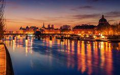 Download wallpapers Paris, nightscapes, bridge, France, Europe