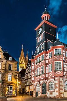 Rathaus Heppenheim at night - Heppenheim, South Hesse, Germany