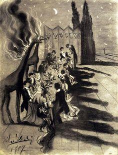 Diner dans le désert éclairé par les giraffes en feu, 1937, Salvador Dali