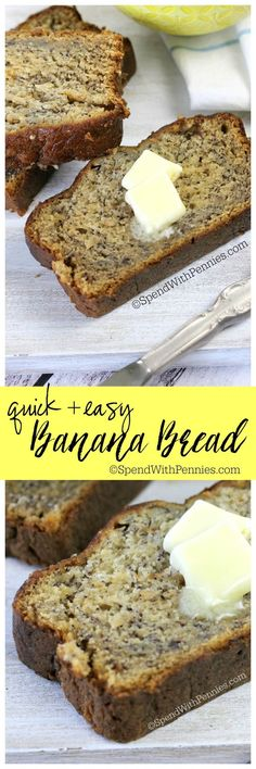 You'll love this easy banana bread recipe! It comes out so perfectly moist e… You'll love this easy banana bread recipe! It comes out so perfectly moist every time and takes less than 10 minutes to prepare! Just Desserts, Delicious Desserts, Dessert Recipes, Yummy Food, Cake Recipes, Make Banana Bread, Banana Bread Recipes, Banana Bread With Bisquick, Easy Healthy Banana Bread