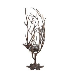 Sterling Birds Nest Candle Holder in Textured Gold Paint and Leaf 138-031