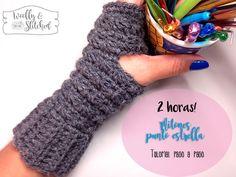 Aprende a tejer estos hermosos y calientitos mitones en punto estrella a crochet.