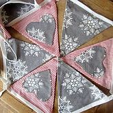 Christmas Bunting Snowflakes And Red Stripes