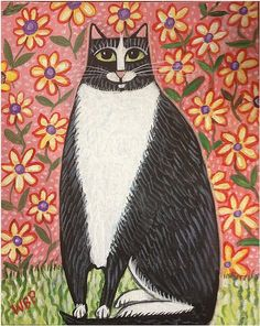 Daisy Cat Black Tuxedo cat in a field of by SeaGardenCottage