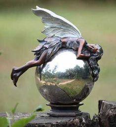Bronze Fairy On Gazing Ball. Garden BallsGarden StatuesFairy ...
