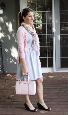 Taking winter clothes into spring – She Knows Chic Camo Dress, Printed Dresses, Pink Accents, Crazy People, Fashion Bloggers, Striped Dress, Winter Outfits, What To Wear, Dresses For Work