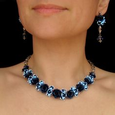 Choker necklace blue roses jewelry evening jewelry