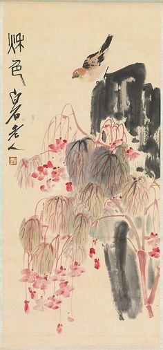 Qi Baishi - Begonias and a Bird on a Rock