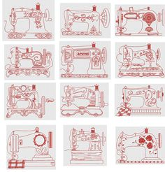 Vintage Sewing Machines Redwork