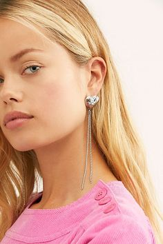 Heart Afloat Dangle Earrings by Free People, Silver, One Size Pearl Pendant Necklace, Star Necklace, Lariat Necklace, Layered Chain Necklace, Layered Chains, Bff Necklaces, Tiny Earrings, Jewelry Trends, Fashion Jewelry