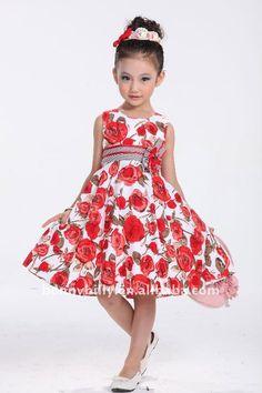 Vestido rojo, ropa de los nuevos del verano niños rojos del algodón, vestidos de…