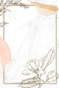 Rectangle frame with brush strokes and outline flowers decoration on marble background vector Framed Wallpaper, Flower Background Wallpaper, Flower Backgrounds, Background Patterns, Wallpaper Backgrounds, Iphone Wallpaper, Powerpoint Background Design, Instagram Frame, Instagram Background