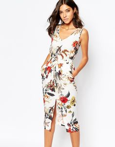 7c965b4b6a Warehouse Floral Printed Midi Dress at asos.com