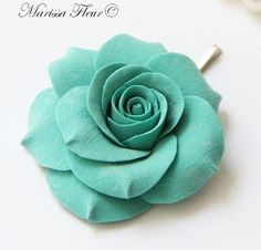 Turquoise Aqua Blue Rose Hair Pin 225'' Perfect by marissafleur, $15.00