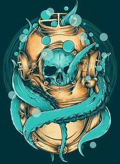 Buzo calamar craneo